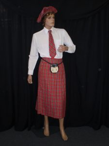 Scottish kilt, tie, tamoshanter and sporren