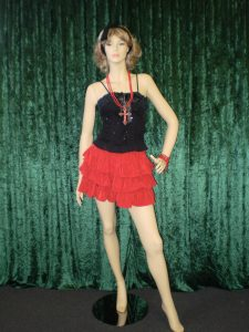 Black and red eighties costume, including Kylie style red frilled skirt