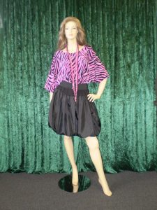 Purple and black animal print top and black bubble skirt, womens 80's costume