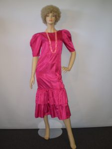 Hot pink Kath and Kim style 80's dress and blond afro wig