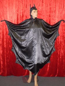 Bat costume. Black dress with attached hood available to hire from our Sydney costume shop. Fits up to plus sizes.
