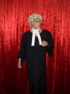 Barrister costume with gown wig and collar.