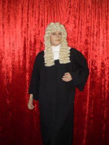 Judge costume including black judge robe, judge wig & white lace collar