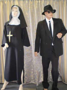 Blues brothers suit and Nun costume
