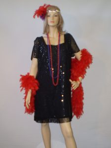 Plus size 1920's black sequin dress with red feather boa
