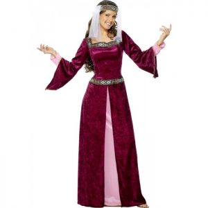 Burgundy & pink maid Marion. Medieval dress to buy