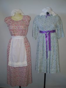 Girls colonial costumes available to hire.