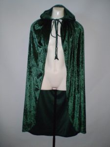 Green velvet hooded cape