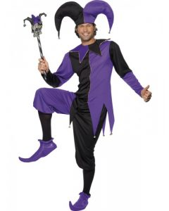 Purple and black medieval jester costume to buy