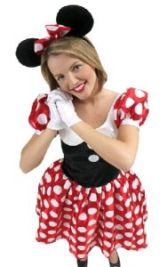 Minnie mouse costume including dress ears and gloves