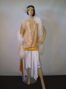Plus size longer 1920's/1930's dress in gold and white