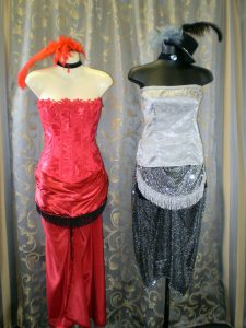 Corset and skirt burlesque of circus performer costumes.