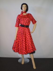 Red and black spot 1950's dress