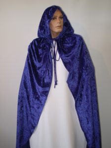 Purple velvet hooded cape