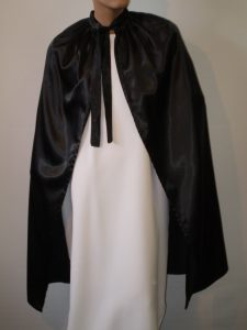 Black satin cape