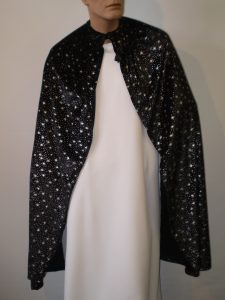 Black velvet cape with silver stars