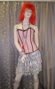 Cindi Lauper style 1980's corset, wig and skirt