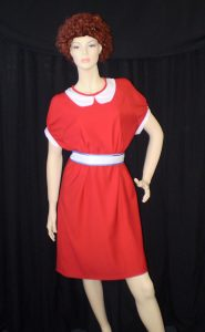 Annie costume including dress and Annie wig