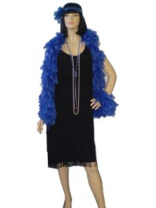Black 1920's costume, fringe dress with electric blue feather boa