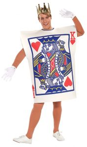 King of hearts card costume. Great for Alice in wonderland parties or Vegas themed parties