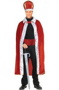 Red velvet fur trimmed King robe and crown to buy