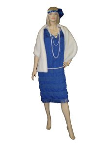 Blue 1920s dress and fur stole. Size 16