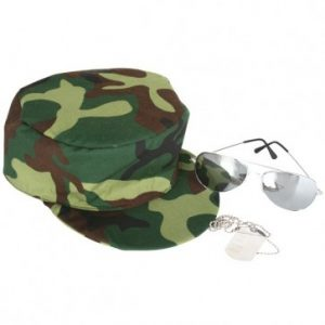 Military accessory set including camouflage cap, aviator glasses and dog tags