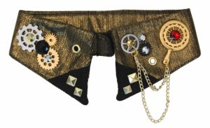 bronze metallic fabric collar with steampunk trim