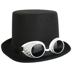 Black top hat with steampunk goggles