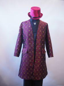 Burgundy brocade frock coat and velvet top hat