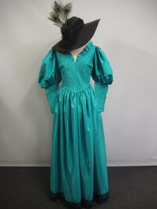 Teal Edwardian dress with leg of mutton sleeves