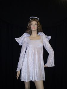 Short Angel costume velvet dress and wings