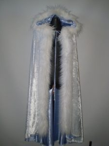 Winter is Coming blue & white fur trim cape