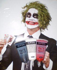 Green Joker style wig & Joker makeup facepaint