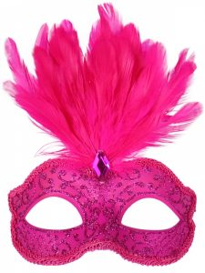 Hot pink feathered masquerade mask