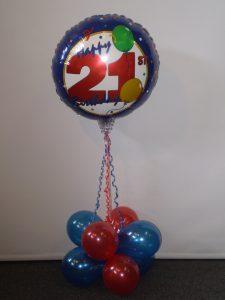 21st Air filled foil & latex balloon arrangement