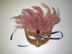 Dusty pink feathered mask