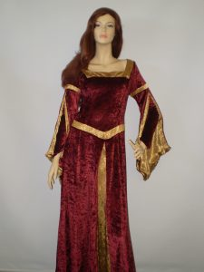 Burgundy & gold Maiden - Medieval costumes for women