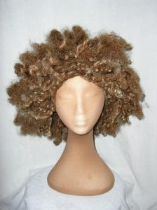 Blond, Brown Afro wig. Red Foo style wig