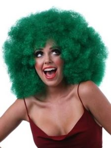 Huge green clown Afro wig
