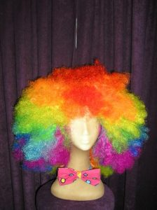 Jumbo rainbow clown Afro wig
