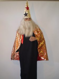 Red & gold wizard cape and hat