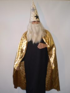 Gold wizard cape and hat with black wizard robe