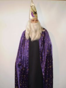 Purple wizard with gold pointed wizard ha