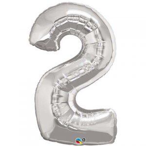 Silver number two balloon