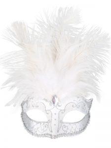 Carmella white & silver face mask