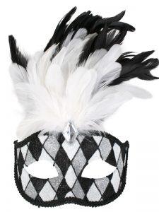 Black & white glitter & feather eyemask