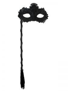 Lace black eyemask on stick