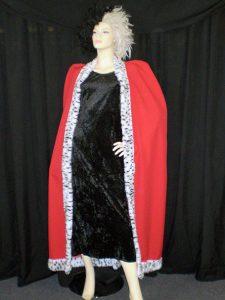 Cruella costume with long dress, cape and wig