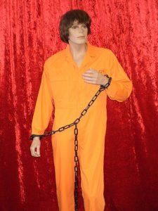 Orange prisoner jumpsuit.